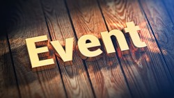 "Upcoming events. The word ""Event"" is lined with gold letters on wooden planks. 3D illustration pic"