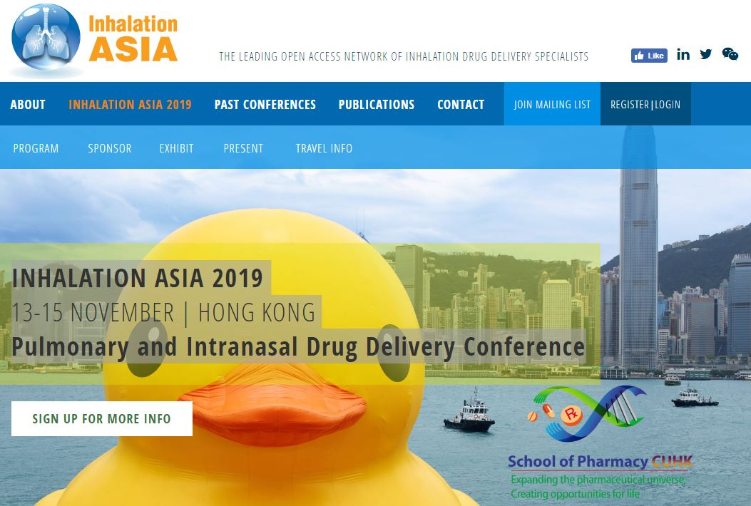 INHALATION ASIA 2019 - Pulmonary and Intranasal Drug Delivery Conference @ Hong Kong Science and Technology Park