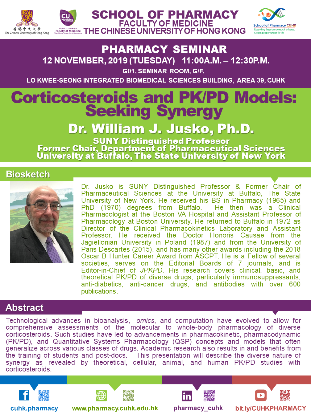 Pharmacy Seminar - Corticosteroids and PK/PD Models: Seeking Synergy