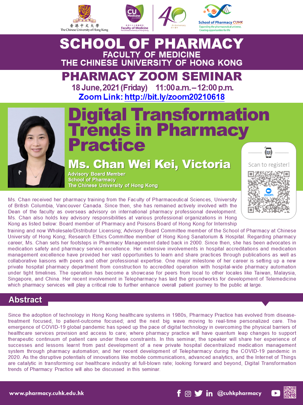 Pharmacy Seminar – Digital Transformation Trends in Pharmacy Practice by Victoria Chan